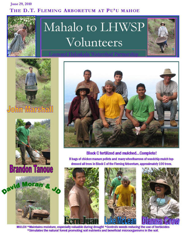 June 29, 2010- Mahalo to LHWSP Volunteers